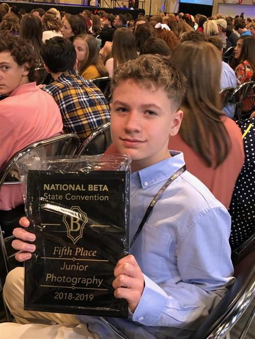 Carden Bruce- Curry Middle School Placed 5th in Photography at State Beta Convention, Birmingham Alabama.