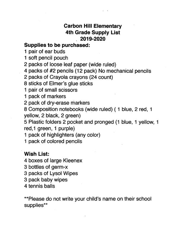 2019-2020 Supply Lists / Home